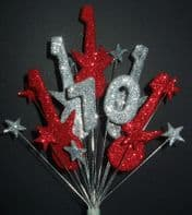 Rock guitar 70th birthday cake topper decoration in red and silver - free postage
