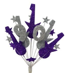 Rock guitar 90th birthday cake topper decoration in purple and silver - free postage
