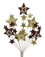 Star Age 13th birthday cake topper decoration in choc and gold - free postage