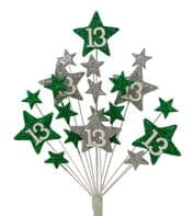 Star age 13th birthday cake topper decoration in emerald and silver - free postage