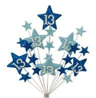 Star age 13th birthday cake topper decoration in shades of blue - free postage