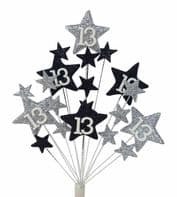 Star age 13th birthday cake topper decoration in silver and black - free postage