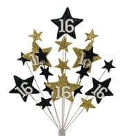 Star Age 16th birthday cake topper decoration in black and gold - free postage