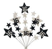 Star age 16th birthday cake topper decoration in black and white - free postage