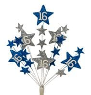 Star Age 16th birthday cake topper decoration in laser and silver - free postage