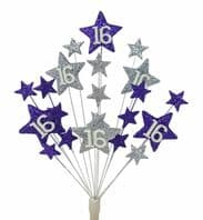 Star age 16th birthday cake topper decoration in purple and silver - free postage