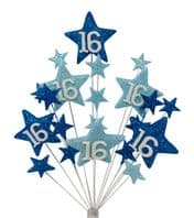 Star age 16th birthday cake topper decoration in shades of blue - free postage