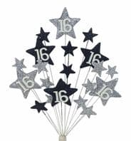 Star age 16th birthday cake topper decoration in silver and black - free postage