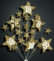 Star age 18th birthday cake topper decoration all in gold - free postage