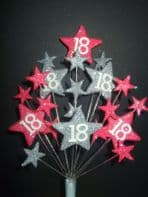 Star age 18th birthday cake topper decoration in bright pink and silver - free postage