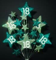 Star age 18th birthday cake topper decoration in shades of green