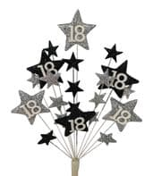 Star age 18th birthday cake topper decoration in silver and black - free postage