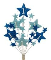 Star age 1st birthday cake topper decoration in shades of blue - free postage