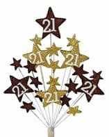 Star age 21st birthday cake topper decoration in choc and gold - free postage