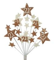 Star age 21st birthday cake topper decoration in copper and cream - free postage