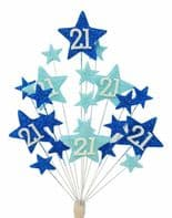 Star age 21st birthday cake topper decoration in shades of blue - free postage