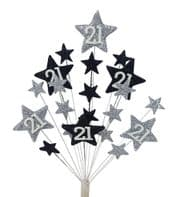 Star age 21st birthday cake topper in silver and black - free postage