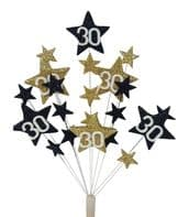Star age 30th birthday cake topper decoration in black and gold - free postage