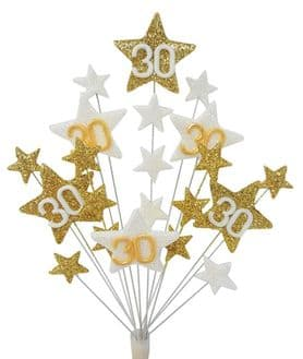 Star age 30th birthday cake topper decoration in gold and white - free postage