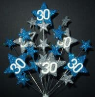 Star age 30th birthday cake topper decoration in laser and silver - free postage