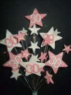 Star age 30th birthday cake topper decoration in pale pink and white- free postage