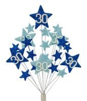 Star age 30th birthday cake topper decoration in shades of blue - free postage