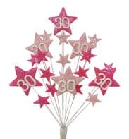 Star age 30th birthday cake topper decoration in shades of pink - free postage