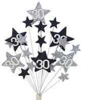 Star age 30th birthday cake topper decoration in silver and black - free postage