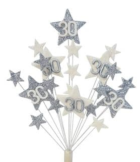 Star age 30th birthday cake topper decoration in silver and white - free postage