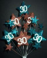Star age 30th birthday cake topper decoration in teal and choc - free postage