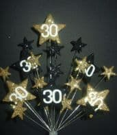 Star age 30th birthday cake topper in black and gold - free postage