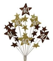 Star age 40th birthday cake topper decoration in choc and gold - free postage