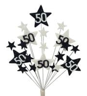 Star age 50th birthday cake topper decoration in black and white - free postage