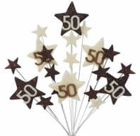 Star age 50th birthday cake topper decoration in choc and cream - free postage