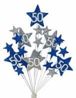 Star age 50th birthday cake topper decoration in laser and silver - free postage