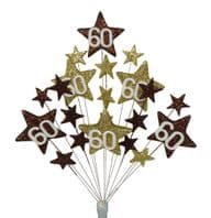 Star age 60th birthday cake topper decoration in choc and gold -  free postage