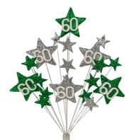 Star Age 60th birthday cake topper decoration in emerald and silver - free postage