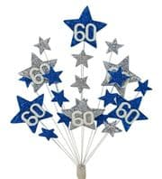 Star age 60th birthday cake topper decoration in laser and silver - free postage