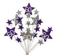 Star age 60th birthday cake topper decoration in purple and silver - free postage