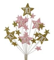 Star age 70th birthday cake topper decoration in gold and pale pink - free postage