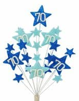 Star age 70th birthday cake topper decoration in shades of blue - free postage