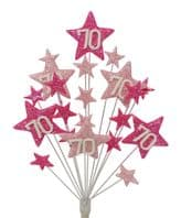 Star age 70th birthday cake topper decoration in shades of pink - free postage