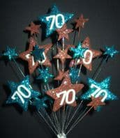 Star age 70th birthday cake topper decoration in teal and choc - free postage