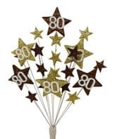 Star age 80th birthday cake topper decoration in choc and gold - free postage