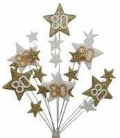 Star age 80th birthday cake topper decoration in gold and white - free postage