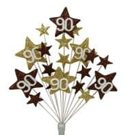 Star Age 90th birthday cake topper decoration in choc and gold - free postage