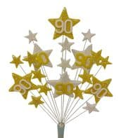 Star Age 90th birthday cake topper decoration in lemon and white - free postage