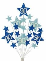 Star age 90th birthday cake topper decoration in shades of blue - free postage