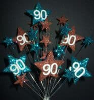 Star age 90th birthday cake topper decoration in teal and choc - free postage