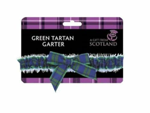 Ladies Elasticated Garter Scottish Green Tartan Party Night Out Wedding